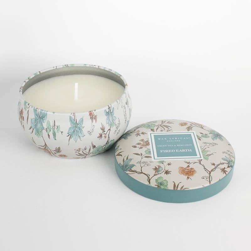 British candle FIRED EARTH series green tea with bergamot tin can candle
