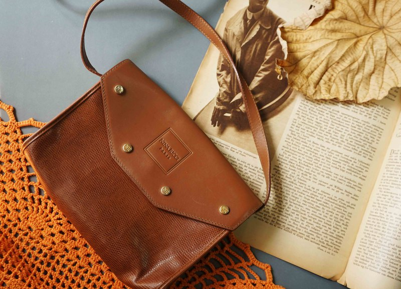 Japan Treasure Hunt Antique Bag-NINA RICCI Caramel Brown Stud Side Envelope Bag