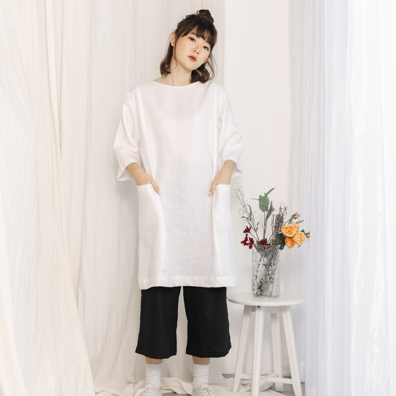 Oversize Linen 3/4 Sleeve Dress And Tunic - White