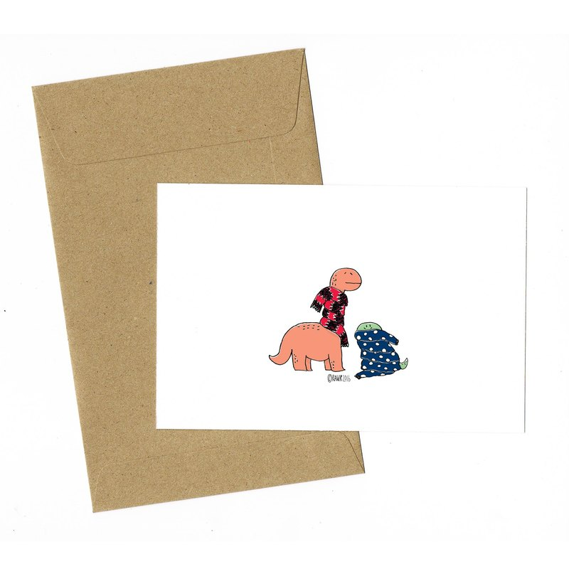 Dinosaur Winter Card with envelope