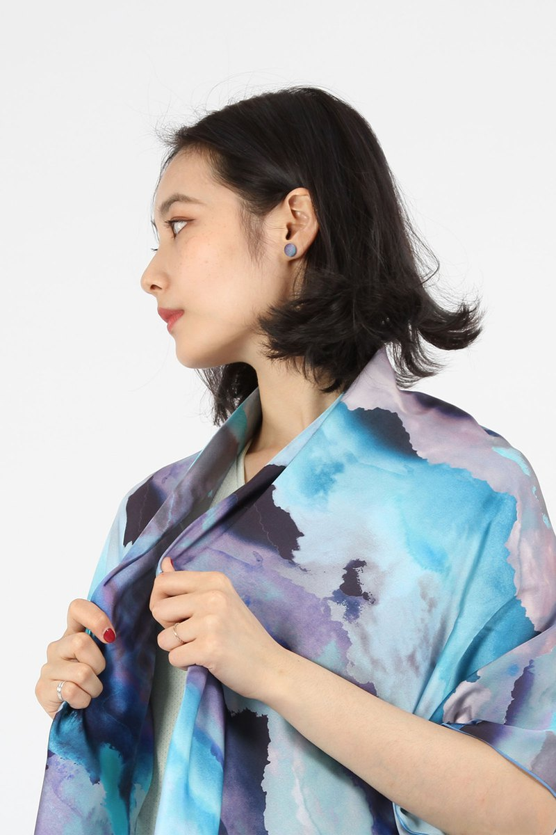 Satin soft digital printed square scarf - clouds