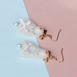 Paramecium [Nepalese] nipple earrings small Mimi handmade original design jewelry lace models