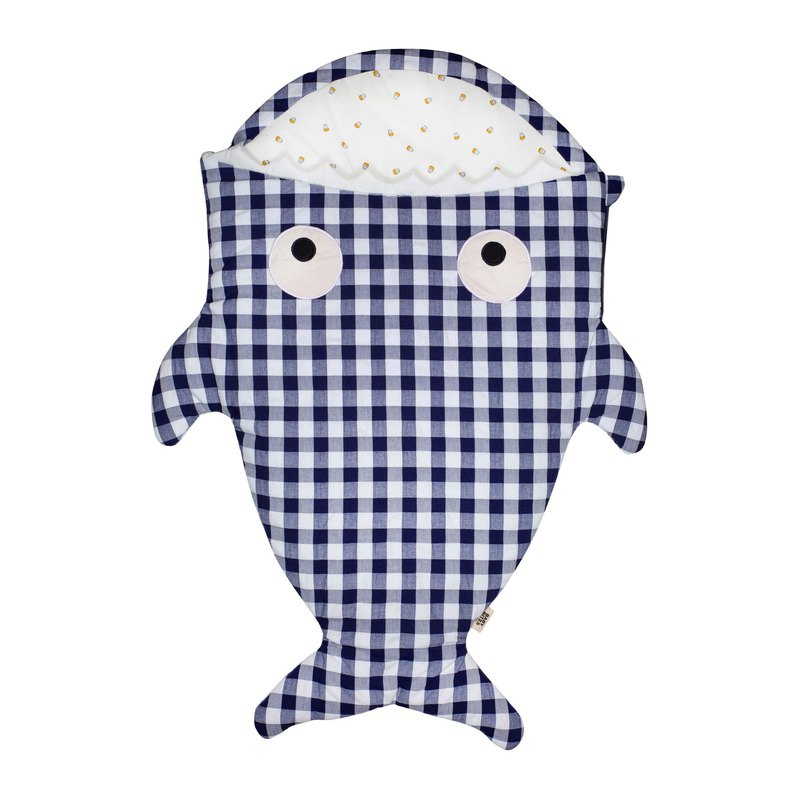 [Special Plan] Shark bite a BabyBites cotton baby sleeping bag - British blue wind