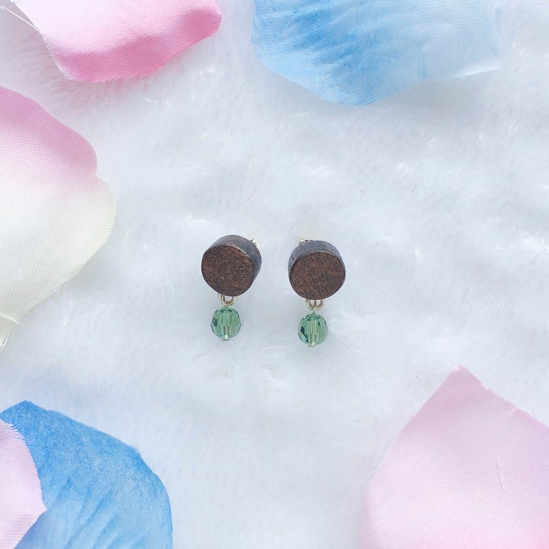 Round wood  Swarovski Crystal  earrings