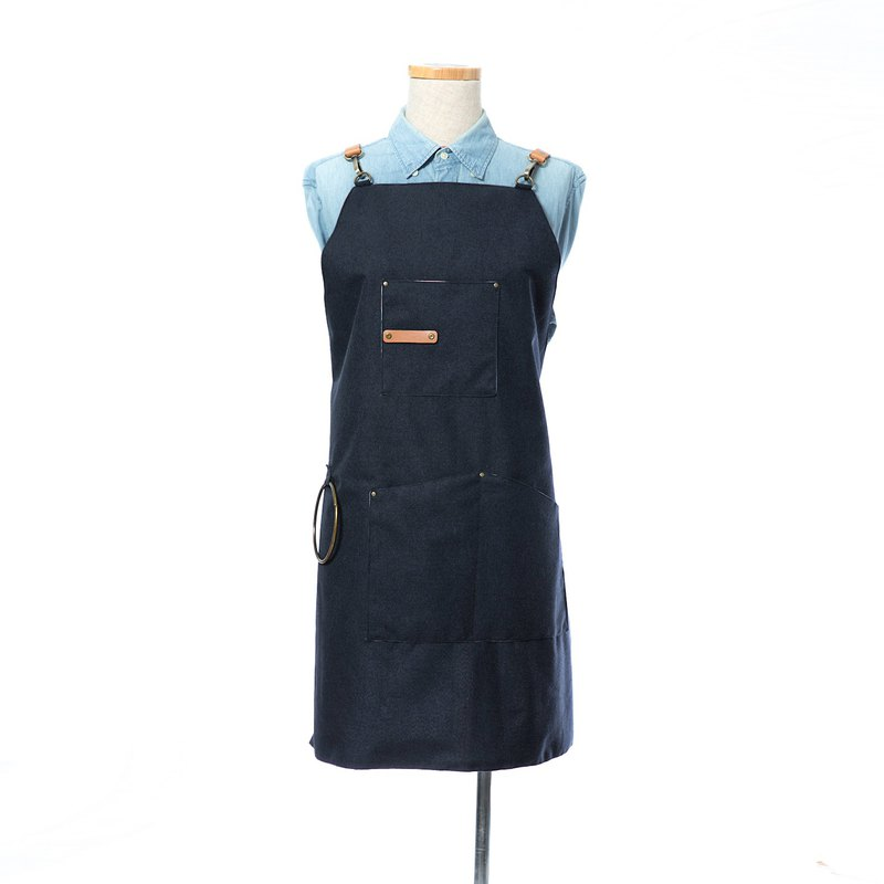Waterproof work apron - Navy / detachable leather strap / free custom English word printing