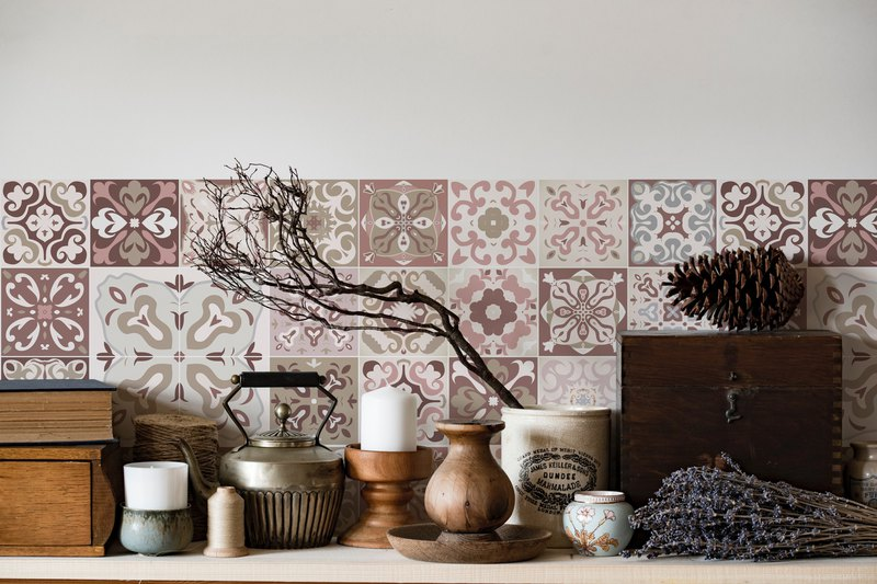 Morandi Tiles | Pink | Easy Wall Stickers