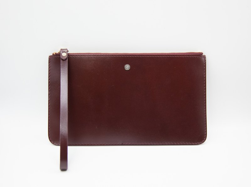 Pouch Wallet/ Clutch / Card Case / Leather / Handmade / Reddish Brown
