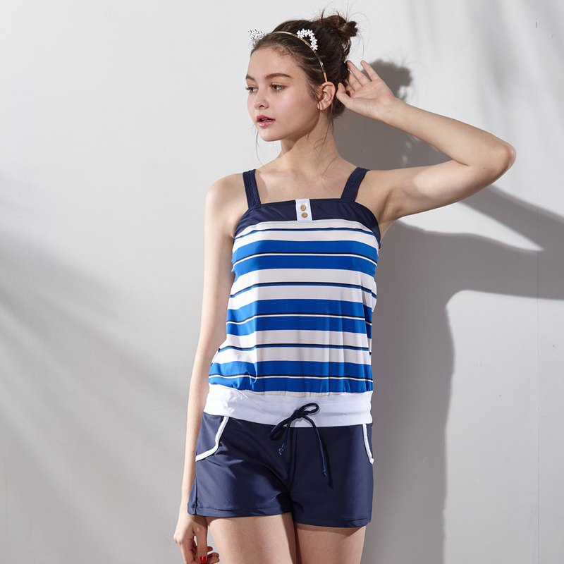 Striped two-piece swimsuit (with pad and swim cap)