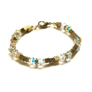 Brass and Crystal Beaded Bracelet