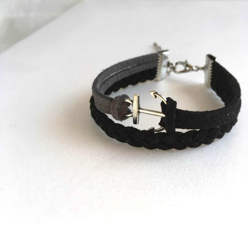 Handmade Double Braided Anchor Bracelets –black limited