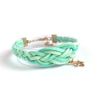 Handmade Braided Sailor Knot Bracelets Rose Gold Series-light blue and green