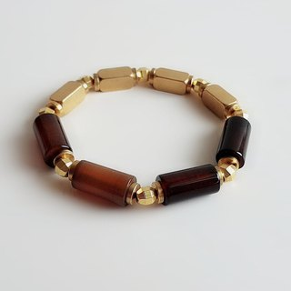 Gemstones ‧ Real Own Natural Minerals Agate Brass ‧ Bracelets