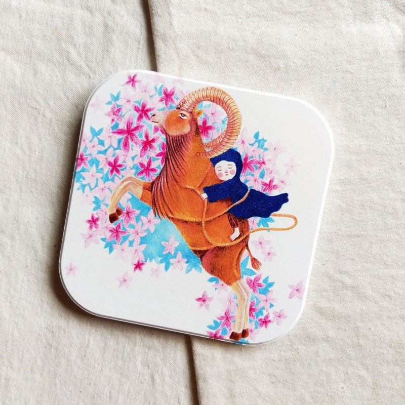 *Healing Office*Aries Flower Language-Ceramic Coaster