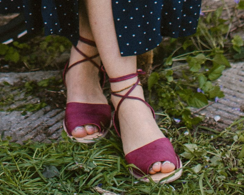 Women Sandals, Women's Shoes, Dark Red Sandals, Wine Sandals, Marsala Leather