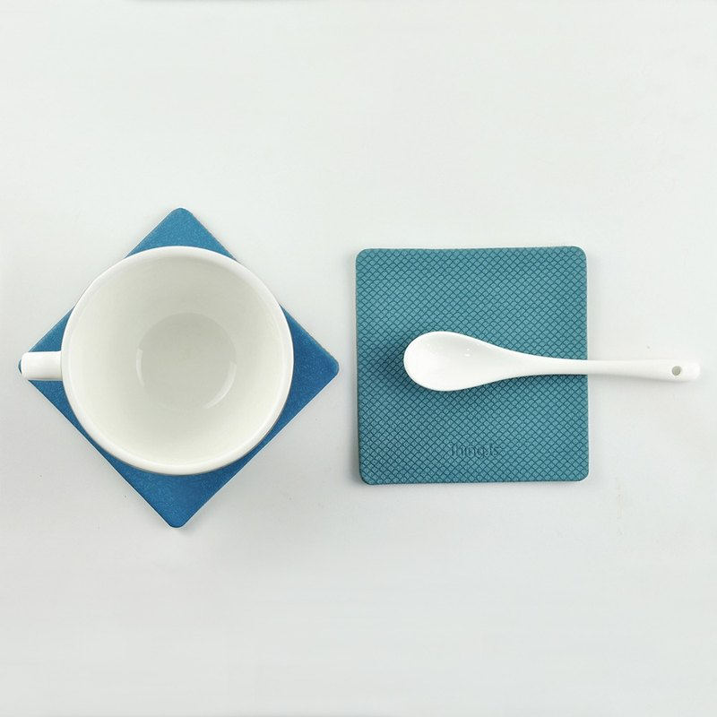 Square PU Leather Coaster, Blue, Custom Colors