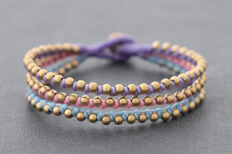 Sweet Pastel Cotton Waxed Cord Bracelets With Brass Beaded