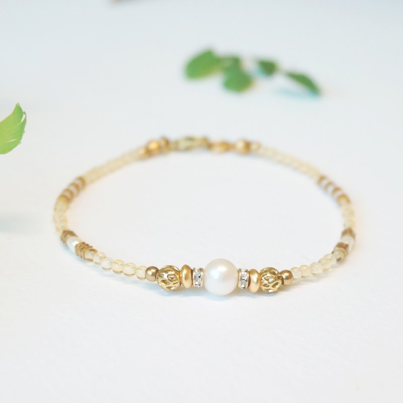 Gaia Series - Citrine Brass Bracelet / November Birthstone