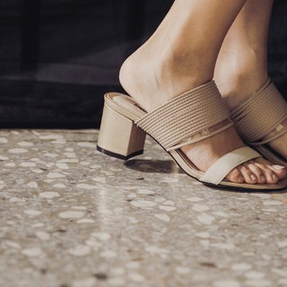 Stacked rope with simple thick heel sandals apricot