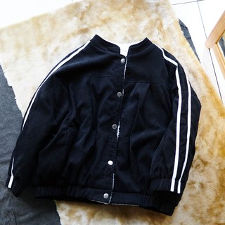 徳岛墨黑滚条 corduroy medium quality adjustable girl antique cotton wool small stand collar baseball jacket
