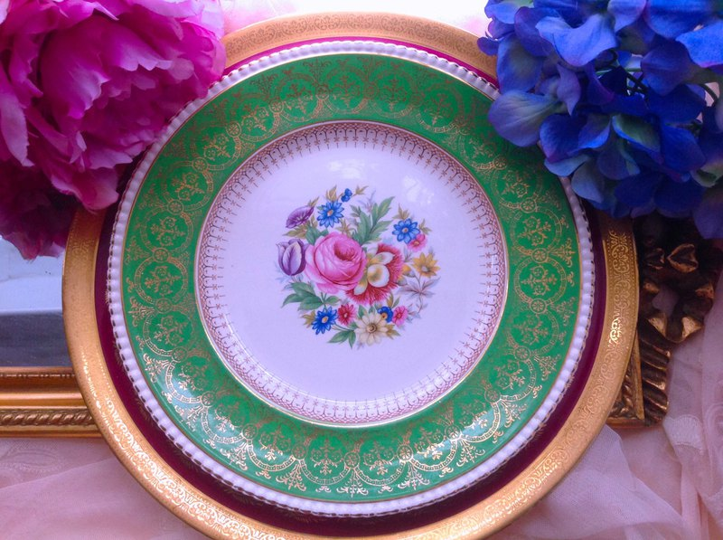 British bone china hand-painted floral green 24k gold cake plate snack plate designated buyer subscript replenishment difference