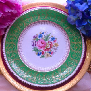 British bone china 1944 Hand-painted Floral Green 24k Gold Cake Pan Dessert Plate Romantic Afternoon Tea Set