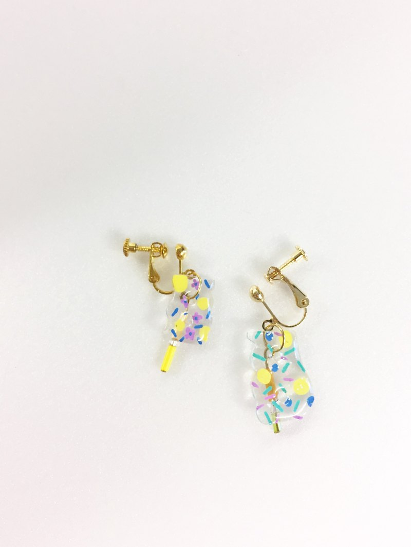 Colorful Dot Summer Hand-painted Printed Rocking Ear Clips (Gold)