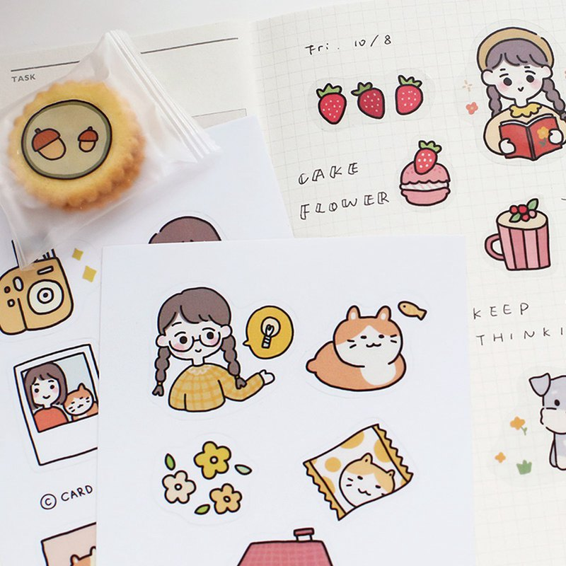 Letter of lovers decorative stickers salt sweet story ins transparent cute characters mobile phone shell stickers hand account stationery