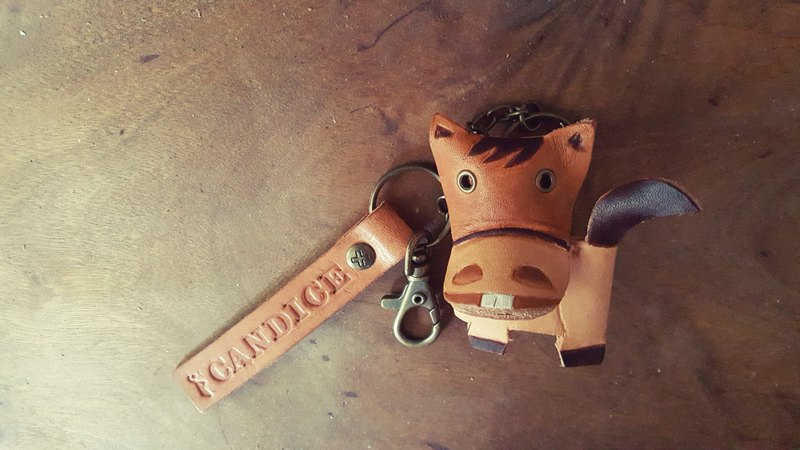 12 Zodiac love dew two-toothed horse pure leather key ring can be lettering (lover, birthday gift)