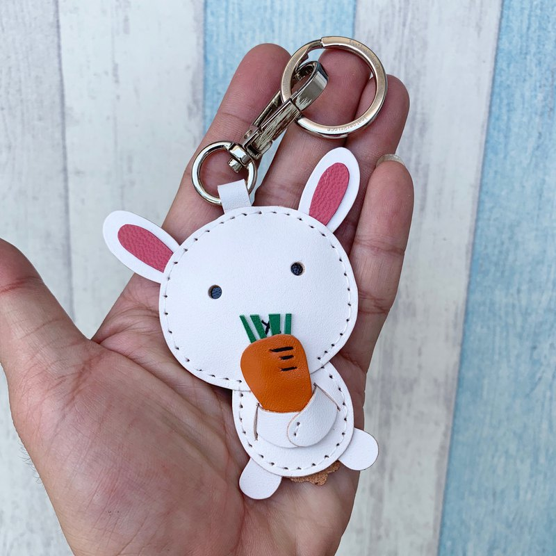 Handmade leather white cute rabbit handmade sewn leather keychain small size