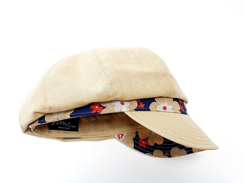 [HiGh MaLi] Newsboy Hat/Japanese Patchwork/Wide Brim/Beige with Japanese Tsubaki Flower#日本布