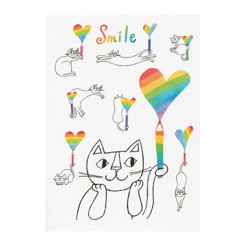 Japanese illustrator Okabe Tetsuo cat postcard [Rainbow smile]