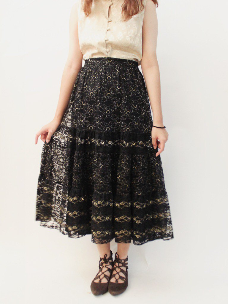 Retro summer European elegant adult lace stitching black vintage dress