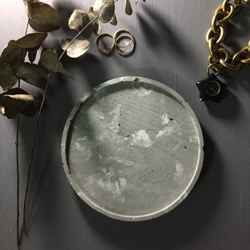 Marble grey concrete - large round tray as desk organiser or accessories holder