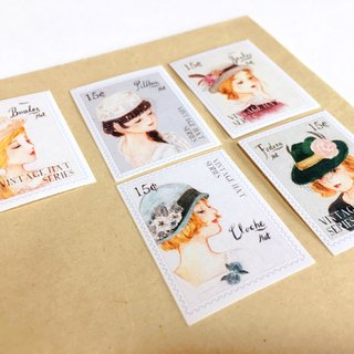 Stamps of Hats  Waterproof Stickers 5pcs