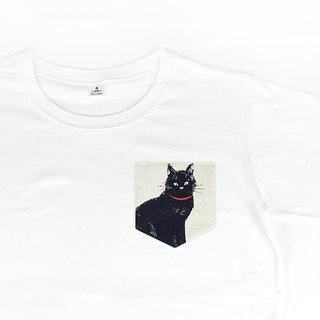 Maverick Village Men and Women Neutral Cotton Short Sleeve T-Shirt Plain White T Black Cat [Mr. Cat] White T-35