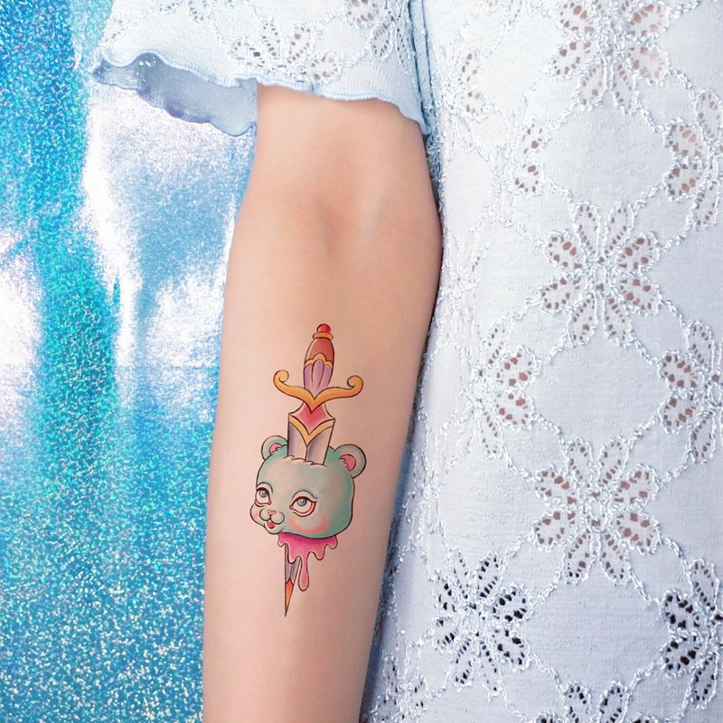 Bear head with sword - temporary tattoo sticker