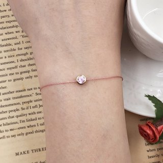 Gold Plated Diamond Set Diamond 4.5mm Pink Diamond Zircon Bracelet Red Line Bracelet