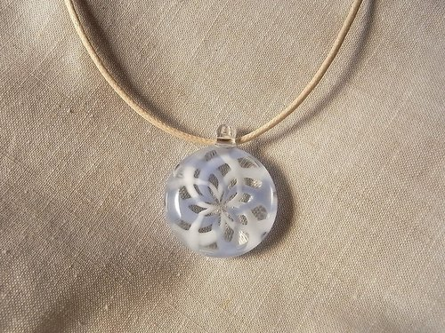 Rose window Geometric pattern Pendant Windmill White and LigheBlueGlass Handmade