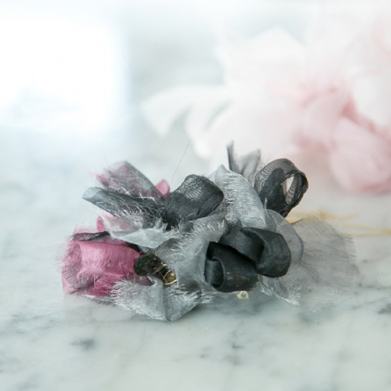 mini | party | Silver Black | Bloom Knitting Barrette/Hair Clip