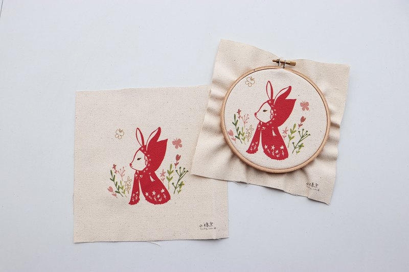 Red Riding Bunny Illustration Embroidery Kit