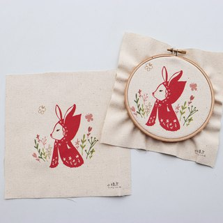 Red Hat Rabbit Illustration Embroidery Kit