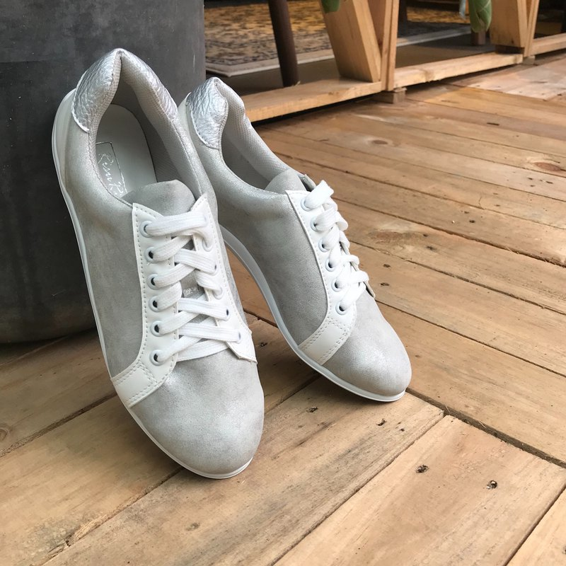 Silver Beam | Lace-up Trainers | Handmade Sneaker