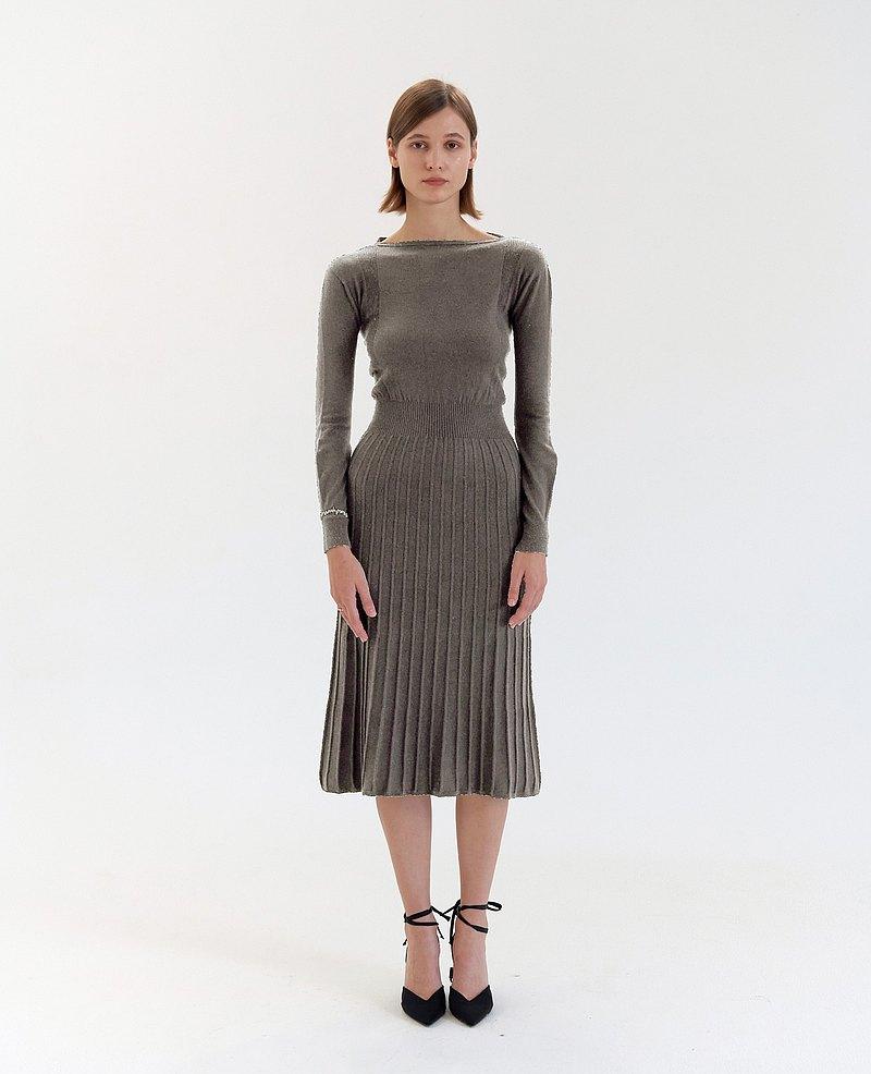 V背針織百褶連衣裙- 焙灰