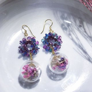 Wreath glass ball earrings [psychedelic]