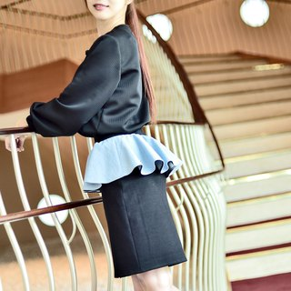 Mu Xi: elastic ribbed tannin front zipper skirt