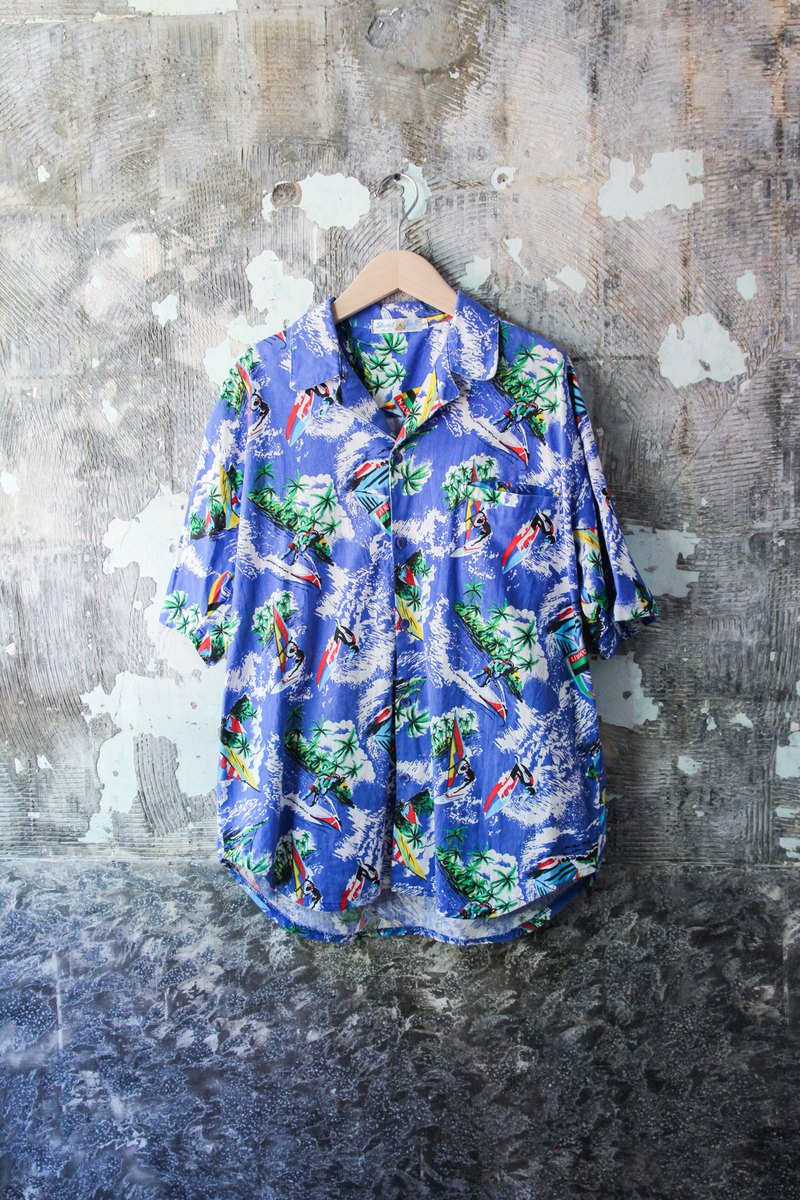 袅袅 Department Store - Vintage Blue Surf Print Hawaiian Shirt Vintage