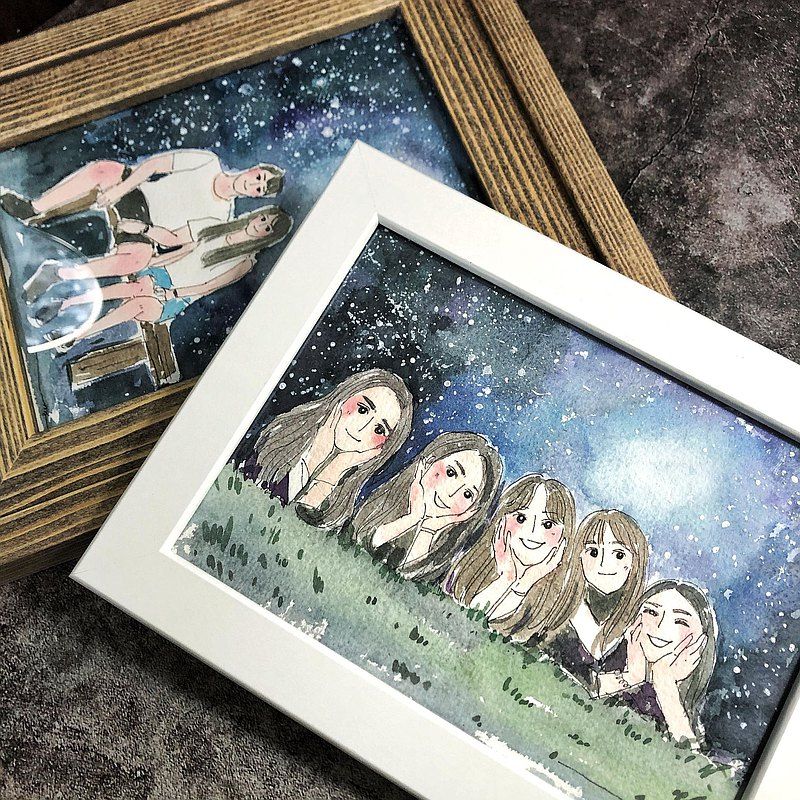 A5 small size and fresh and beautiful painting | blue starry sky background | casual and sincere transparent watercolor | hand-painted custom gift souvenir with frame