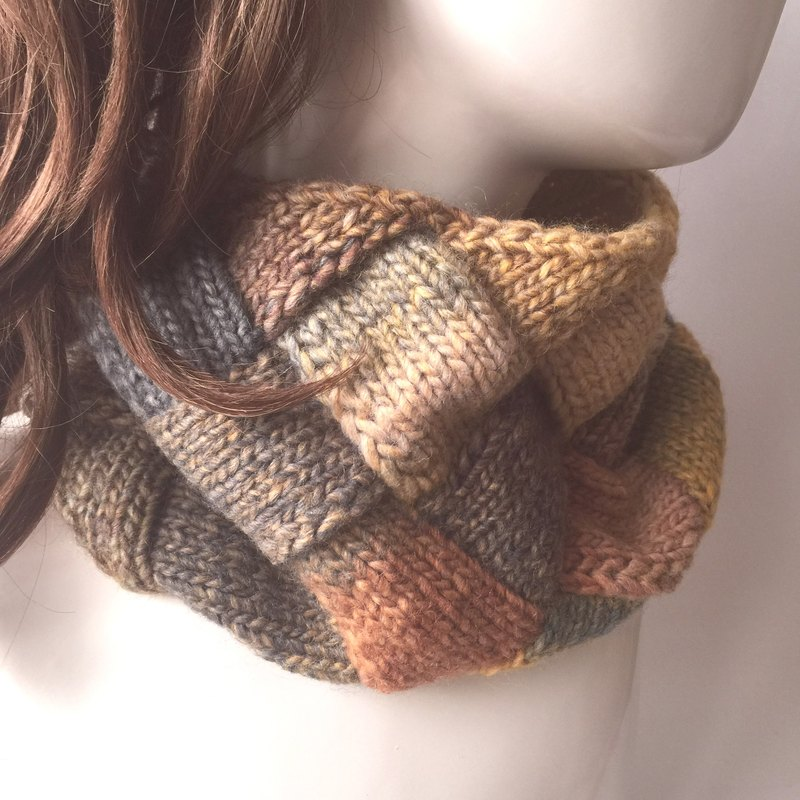 Lonely is not the same thing to keep warm woven neck / bib / warm / scarf sunset color
