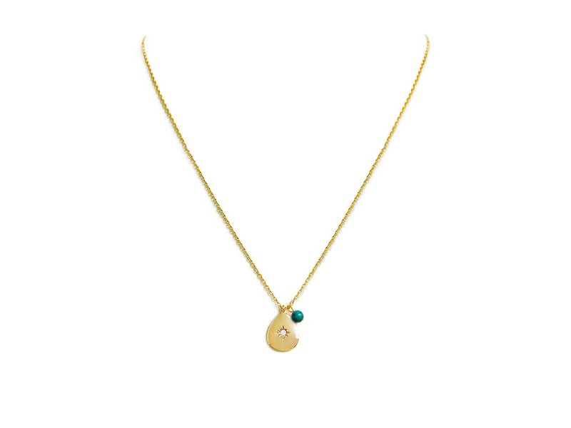 Ficelle|Handmade Brass Natural Stone Necklace | [Turquoise] Small Universe Prosperous Star December
