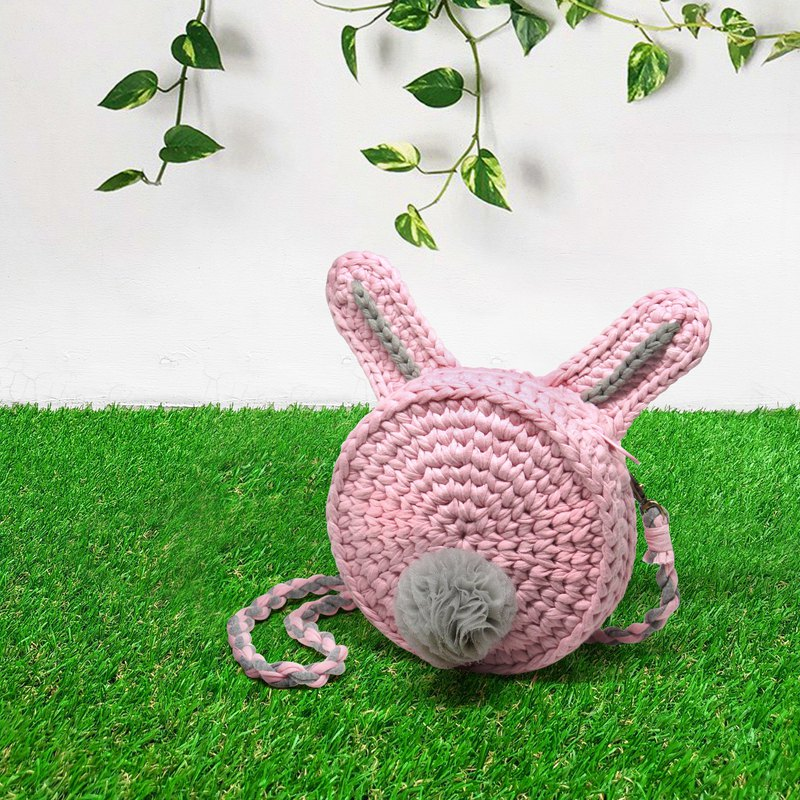 Young animal animal shape woven bag (pink rabbit tail) handmade gift spot one
